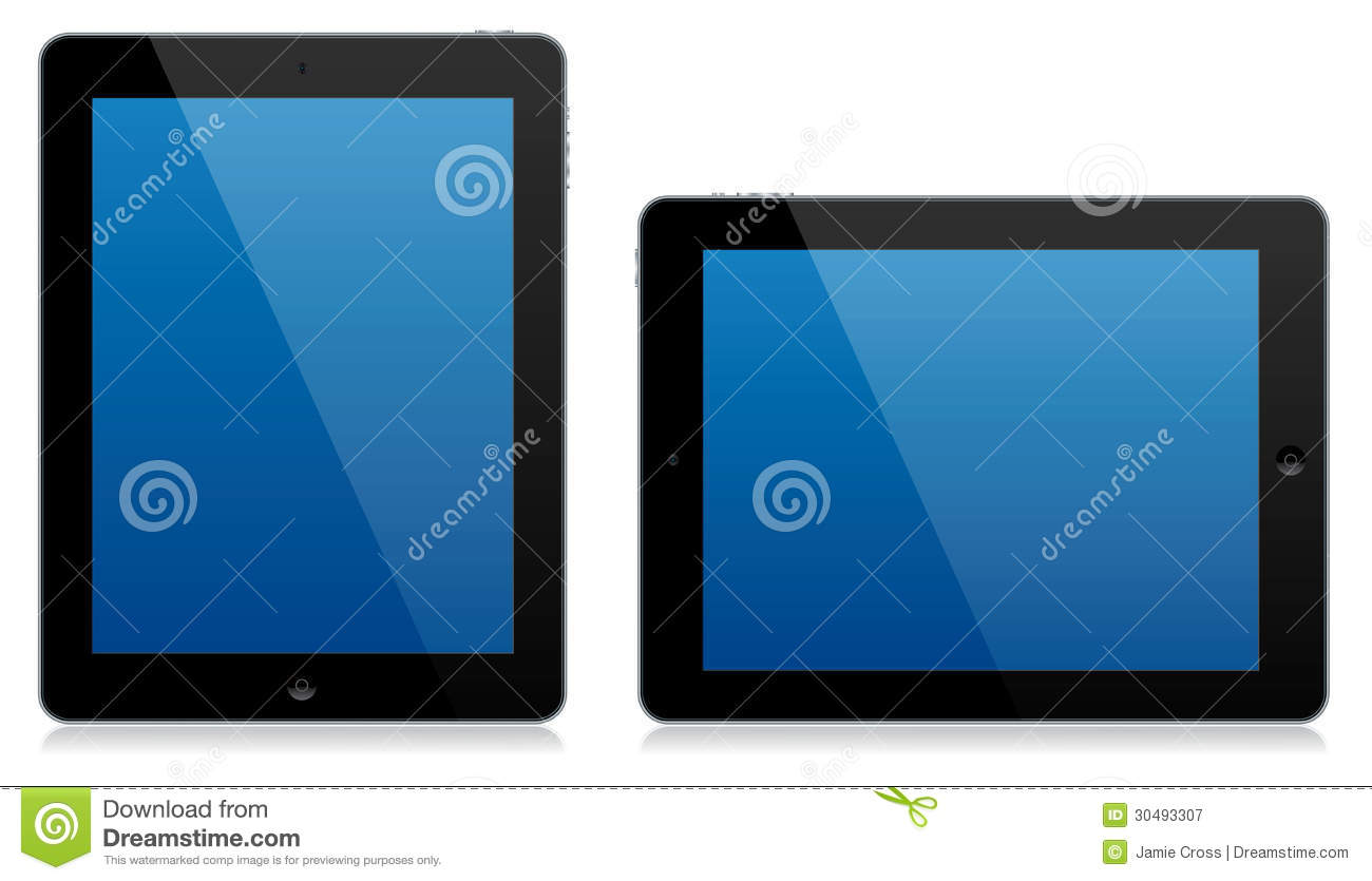 Tablett Modern Modern Tablet Computer Landscape And Portrait Isolated