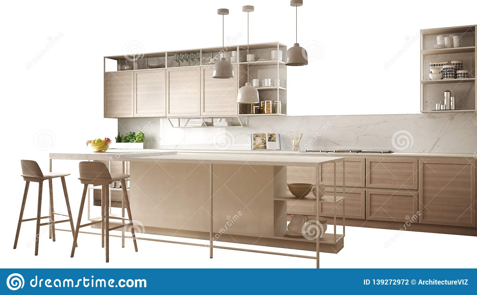 Kitchen Island Design Template Modern White Kitchen With Wooden Details Island With Stools