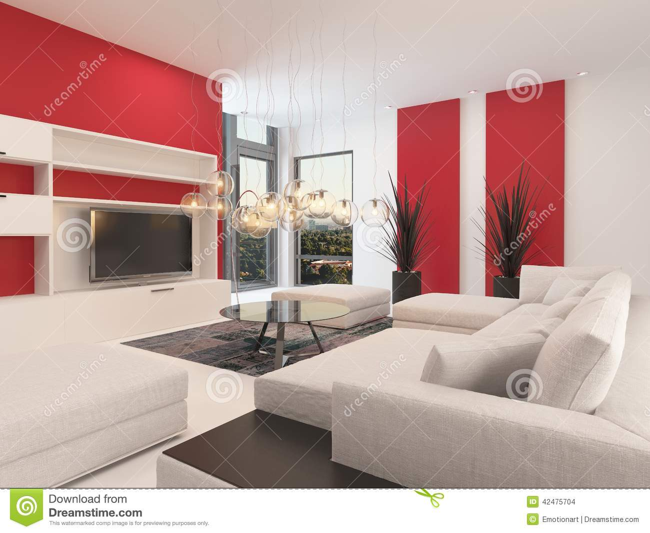 Woonkamer Set Modern Modern White Living Room With Red Accents Stock Illustration