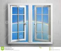 Modern White Window Frame With Sky And Rainbow Stock ...