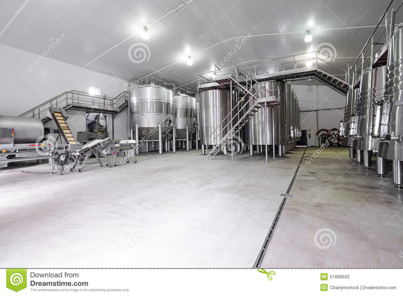 Industri Modern Modern Wine Cellar With Stainless Steel Tanks Stock Photo