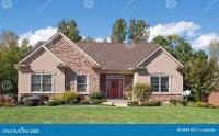 Modest Stone & Stucco House Stock Image - Image of ...