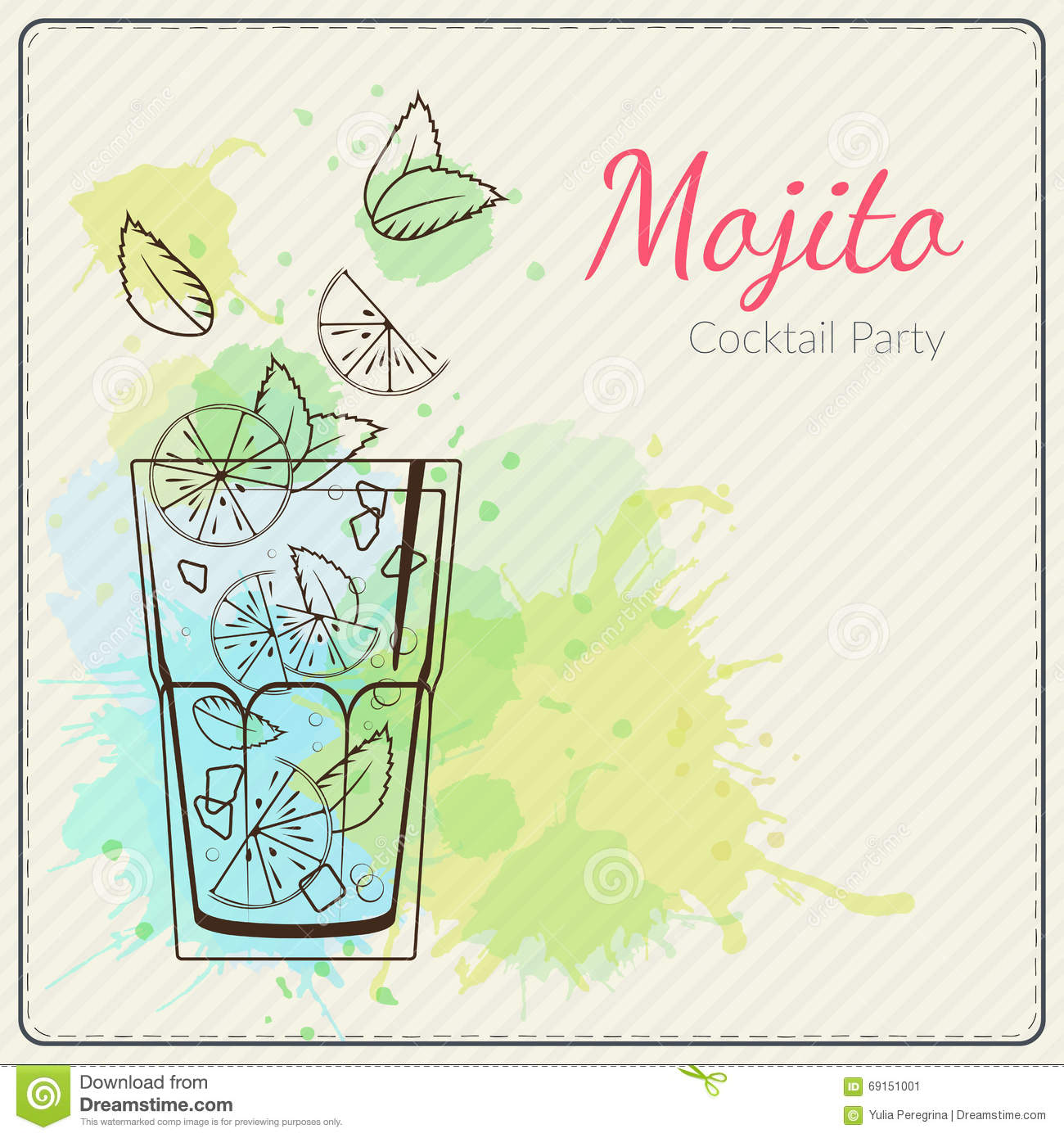 Cocktail Liste Mojito Illustration Tirée Par La Main De Vecteur De Cocktail Fond