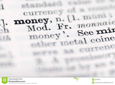 Money; Definition In English Dictionary. Royalty Free Stock Photography - Image: 22739537
