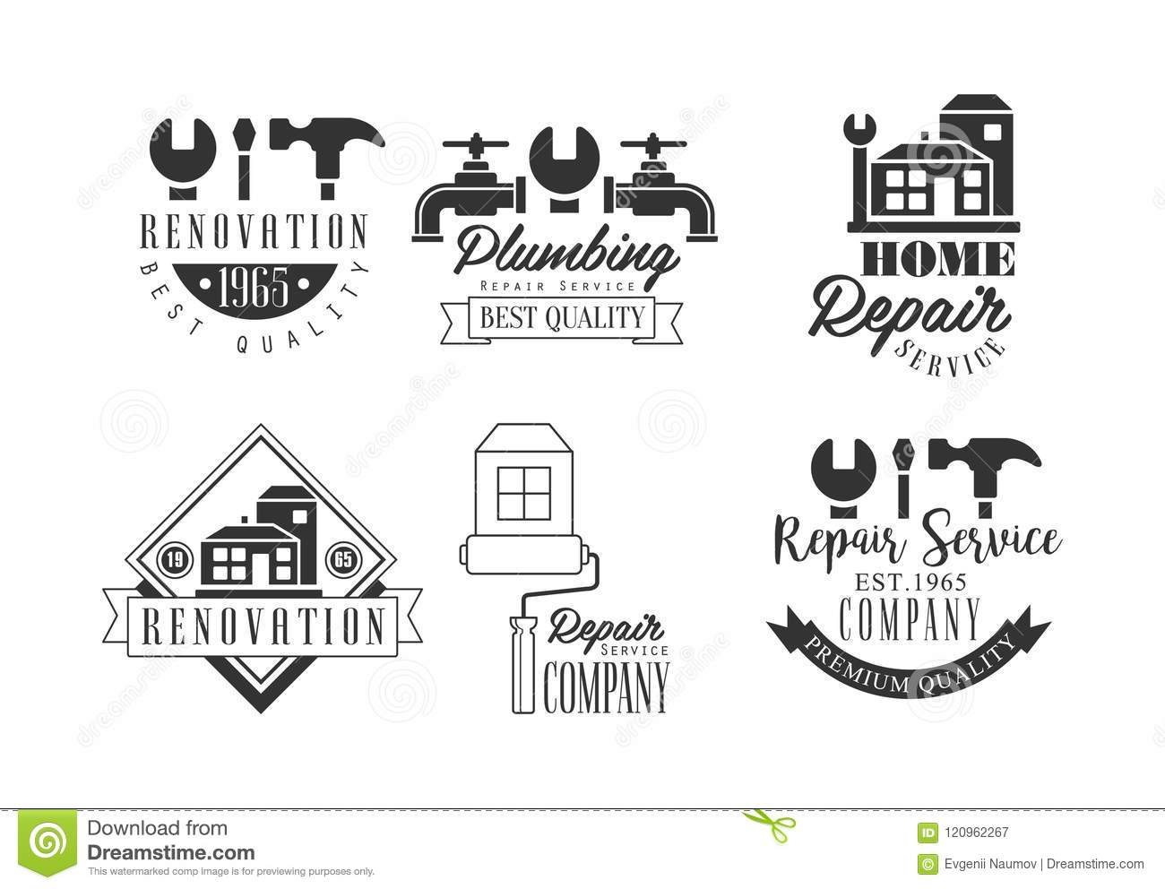 Home Repair Companies Monochrome Logos For Repairing Companies Plumbing And Home