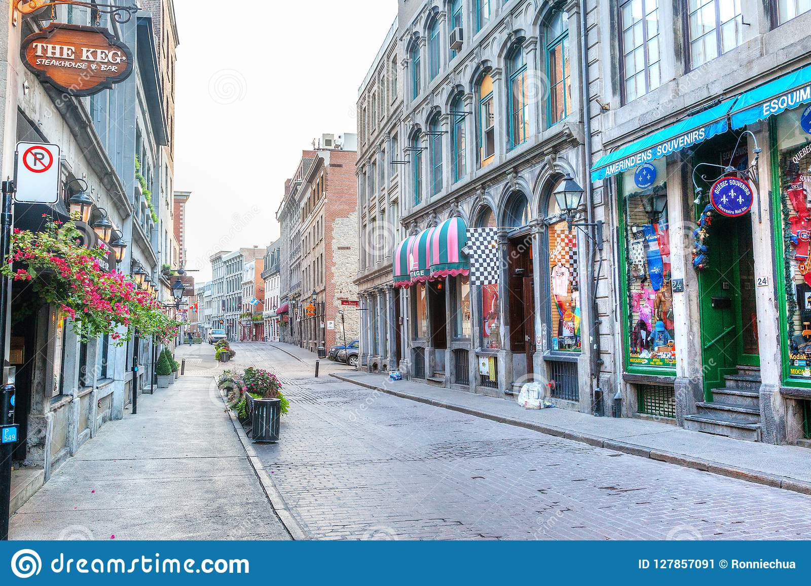 Quebec Montreal Historic Old Montreal Street In Quebec Canada Editorial Photo