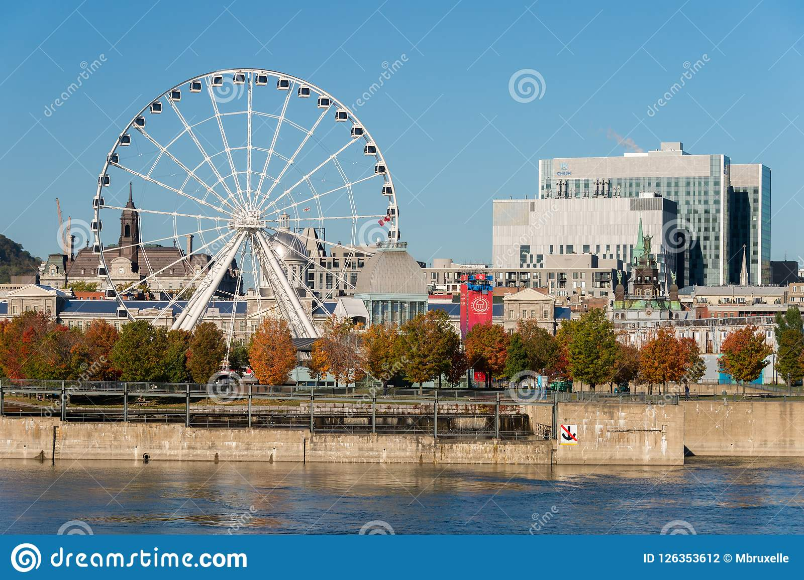 Quebec Montreal Montreal Giant Ferris Wheel In The Old Port Of Montreal Quebec
