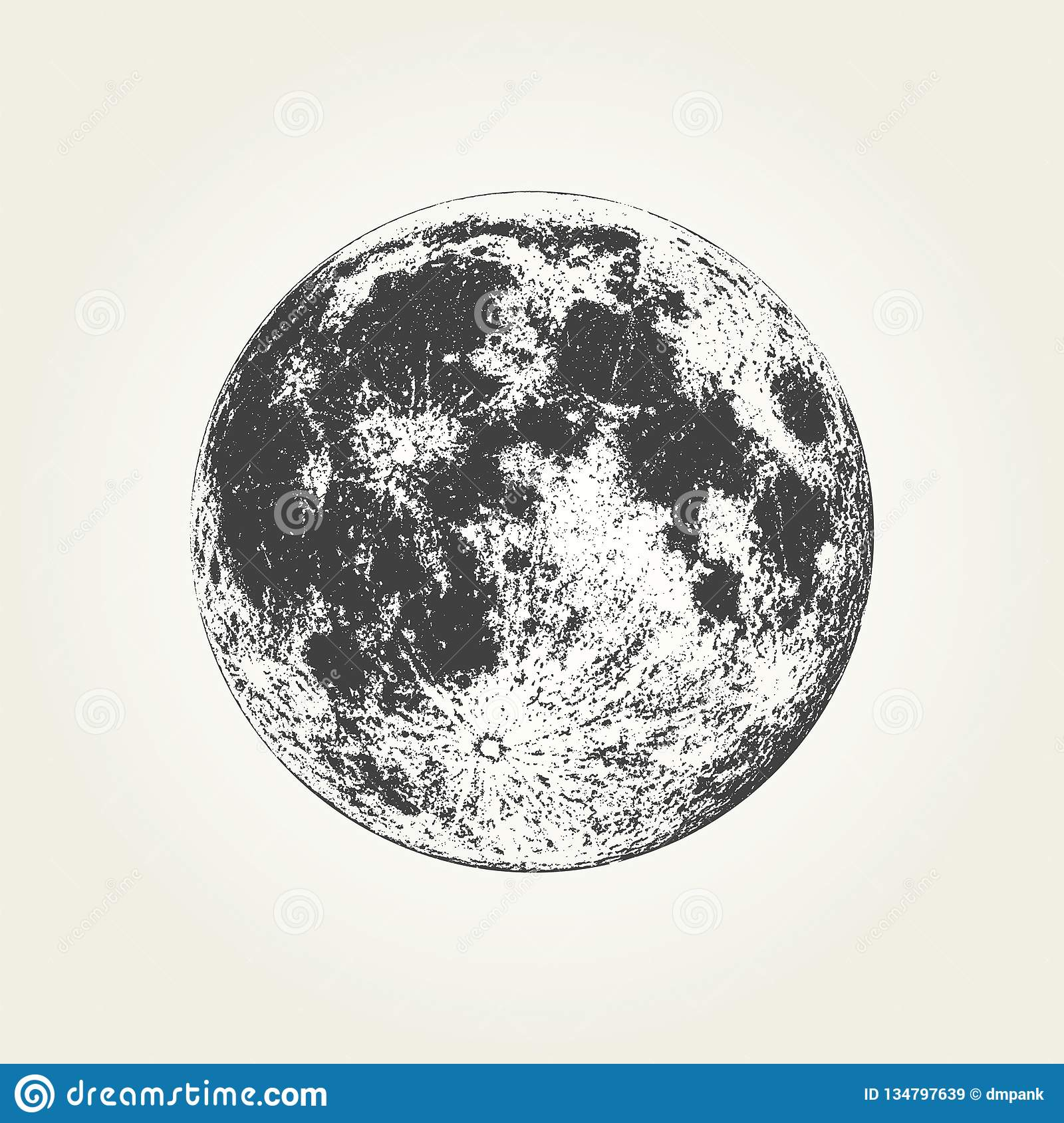 Full Moon Drawing Black And White Realistic Full Moon Black And White Illustration Stock Vector