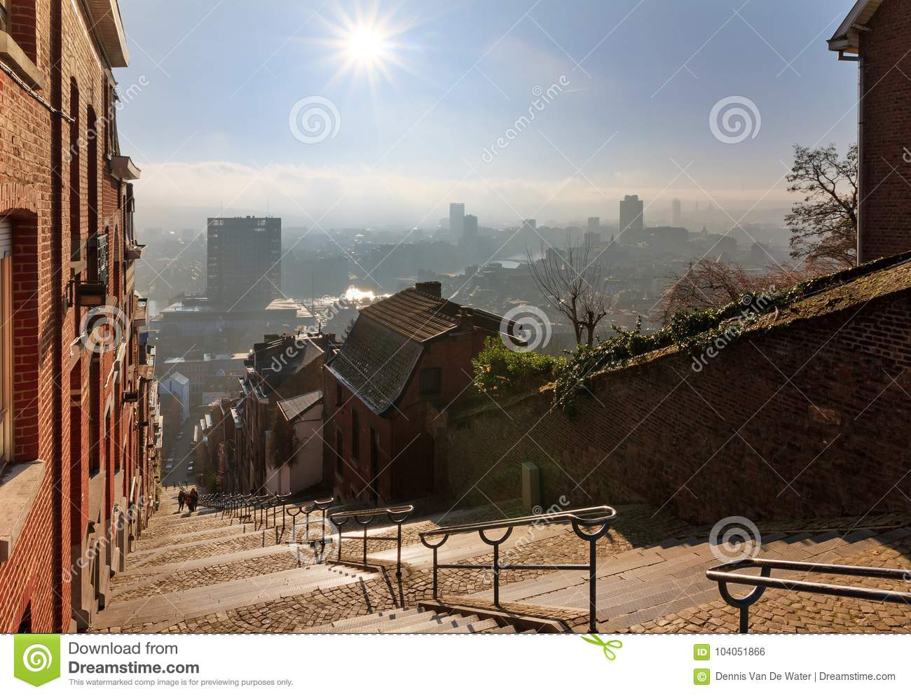 Outdoor Liege Morning View Over Liege In Winter Stock Photo Image Of Outdoor