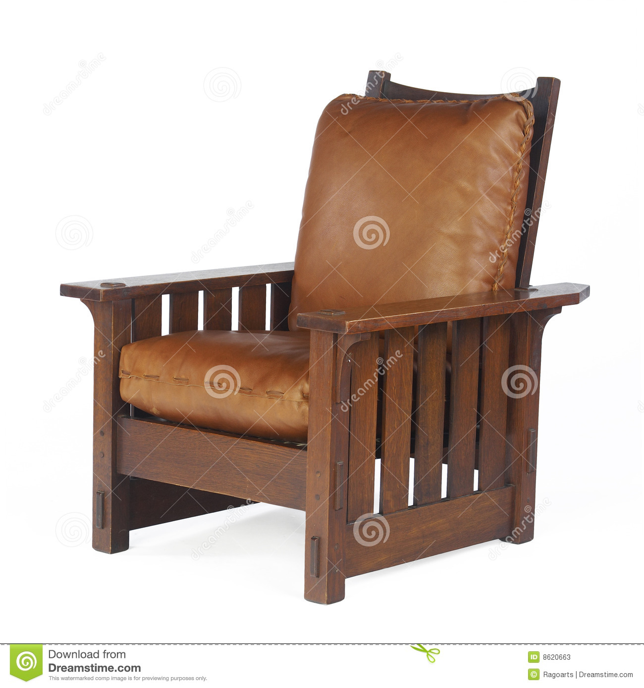 Morris chair with leather cushions editorial stock photo