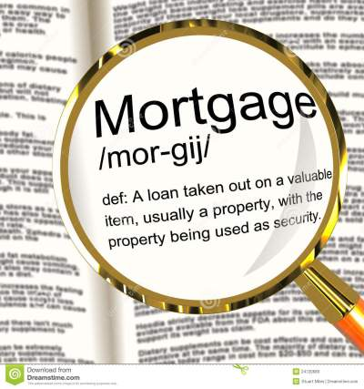 Mortgage Definition Magnifier Showing Property Or Real Estate Lo Royalty-Free Stock Photography ...
