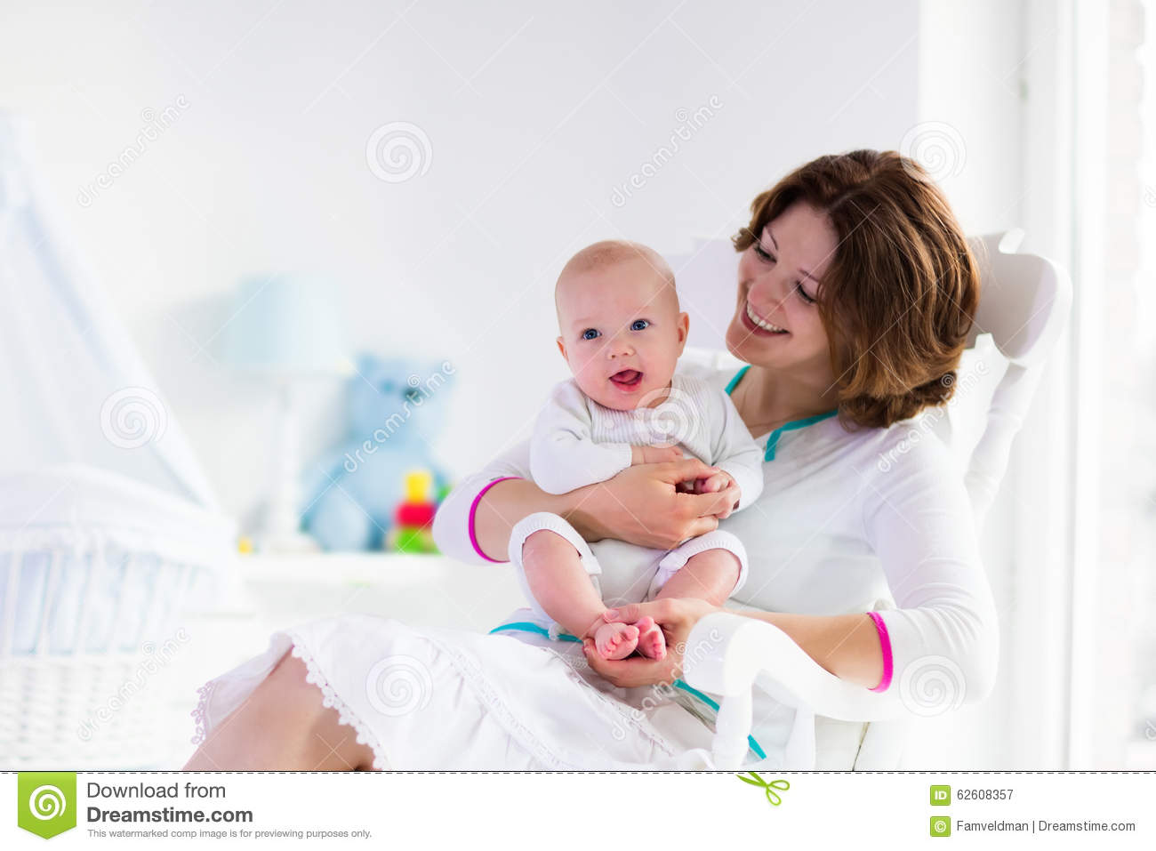 Blue Nursing Chair Mother And Baby In White Bedroom Stock Photo Image 62608357