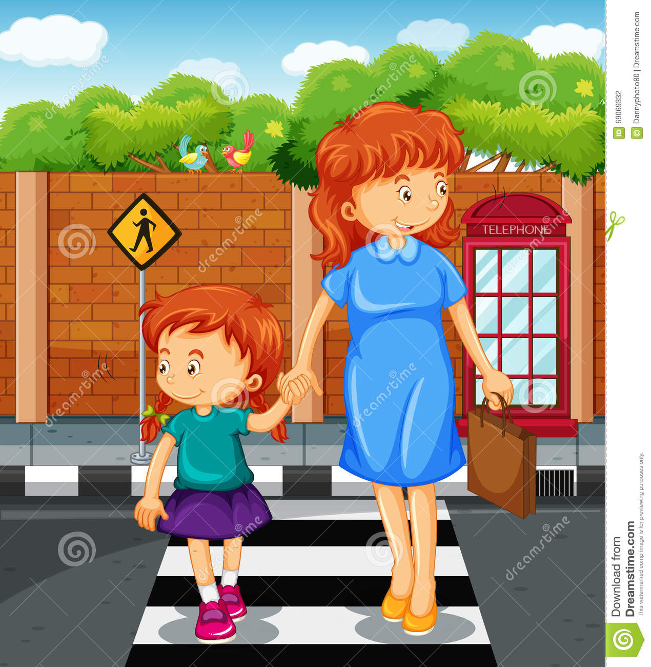 Road Crossing Clipart Mother And Girl Crossing The Road Stock Vector Image