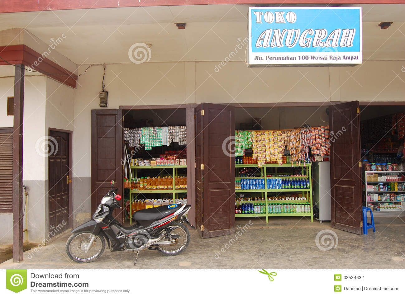 Entrance Perumahan Motorcycle At Store Entrance Indonesia Editorial Photography