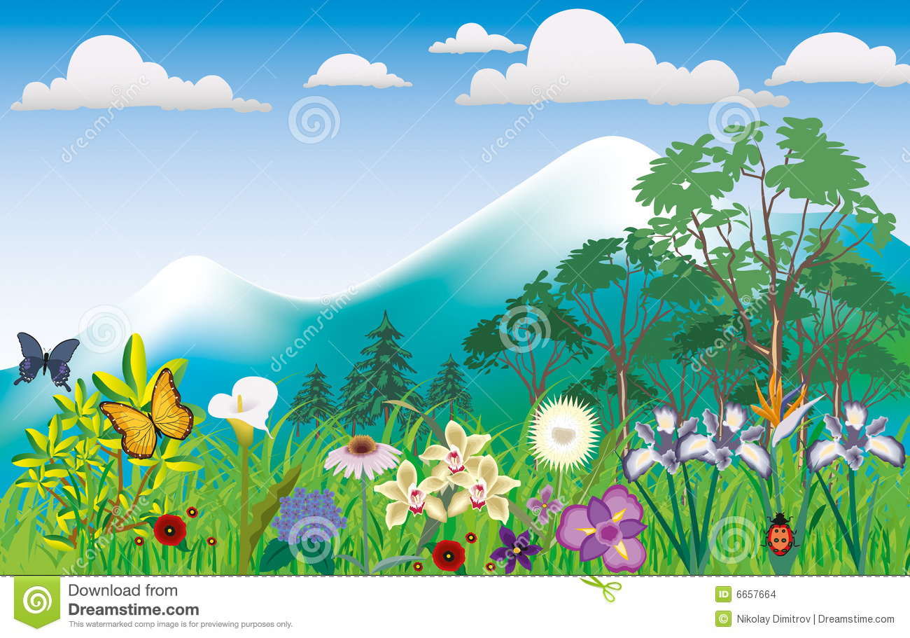 Girl By Beach Wallpaper Sqaure Mountain Scenery With Flowers Illustration Stock Images