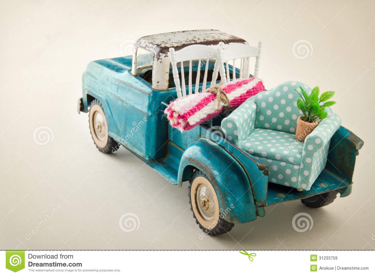 Toy Moving Truck Moving Truck Packed With Furniture Royalty Free Stock