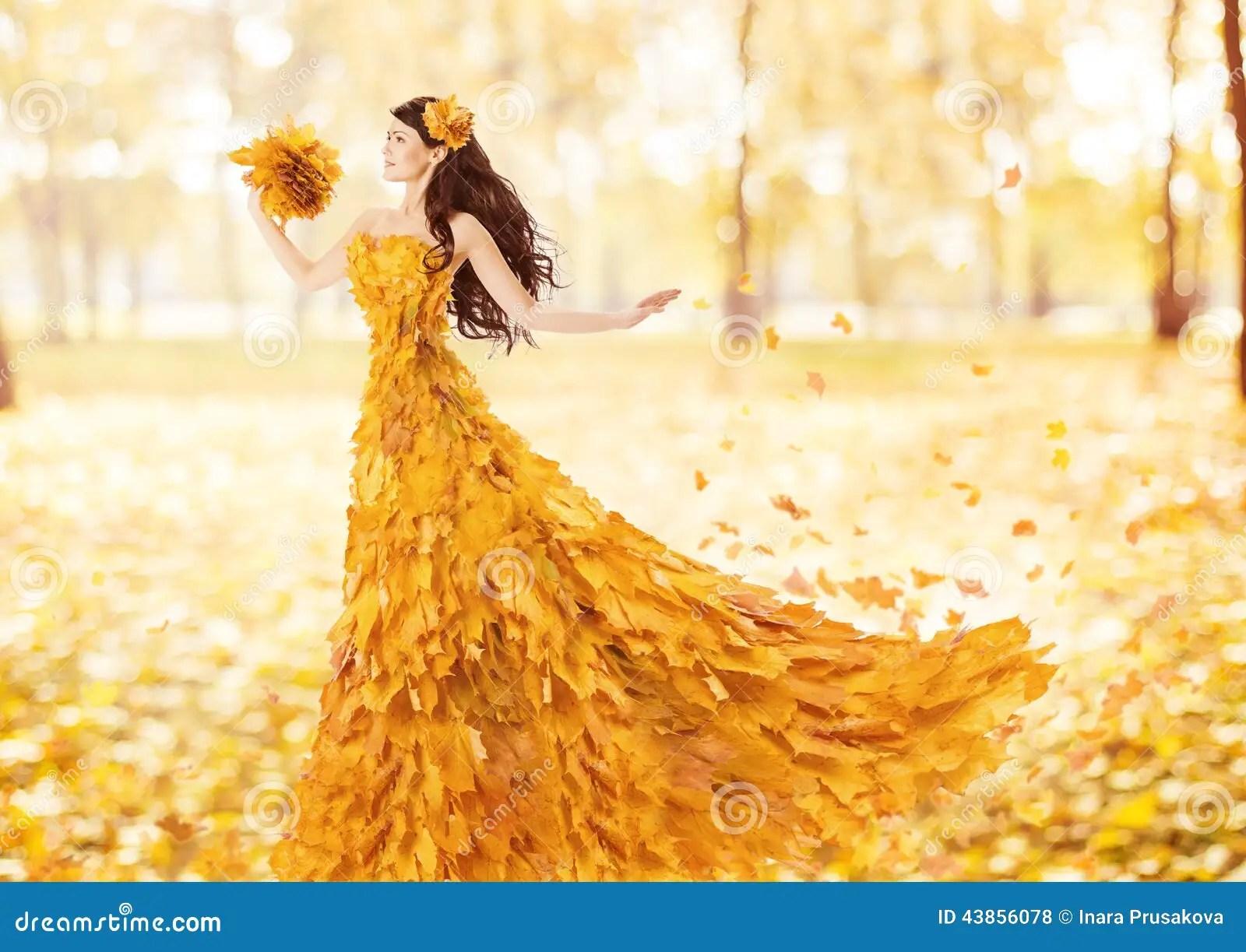 Autumn Tree Leaf Fall Animated Wallpaper Mulher Do Outono No Vestido Da Forma Das Folhas De Bordo