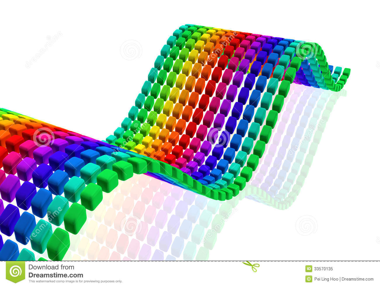 3d Curved Wallpaper Multi Color Cube Wave With Reflection Royalty Free Stock