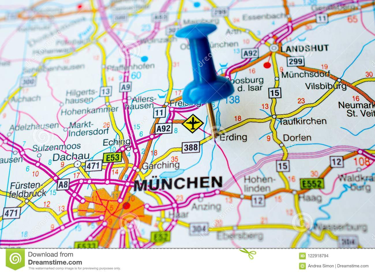 Munich On Map Stock Photo Image Of Region Highway 122918794