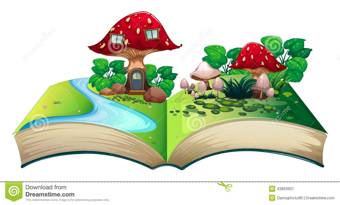 Vector Illustration Of Mushroom House Cartoon Auto Electrical Mirror Wiring Diagram 955 671 Dorman Popup Book Stock