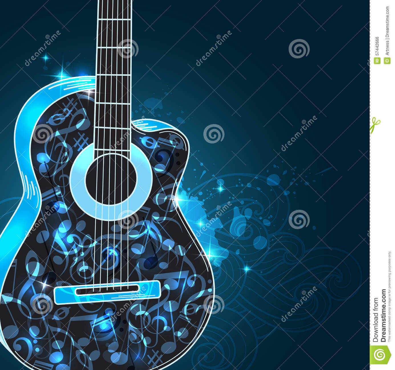 3d Stylish Girl Wallpaper Music Background With Guitar Stock Vector Image 57442666