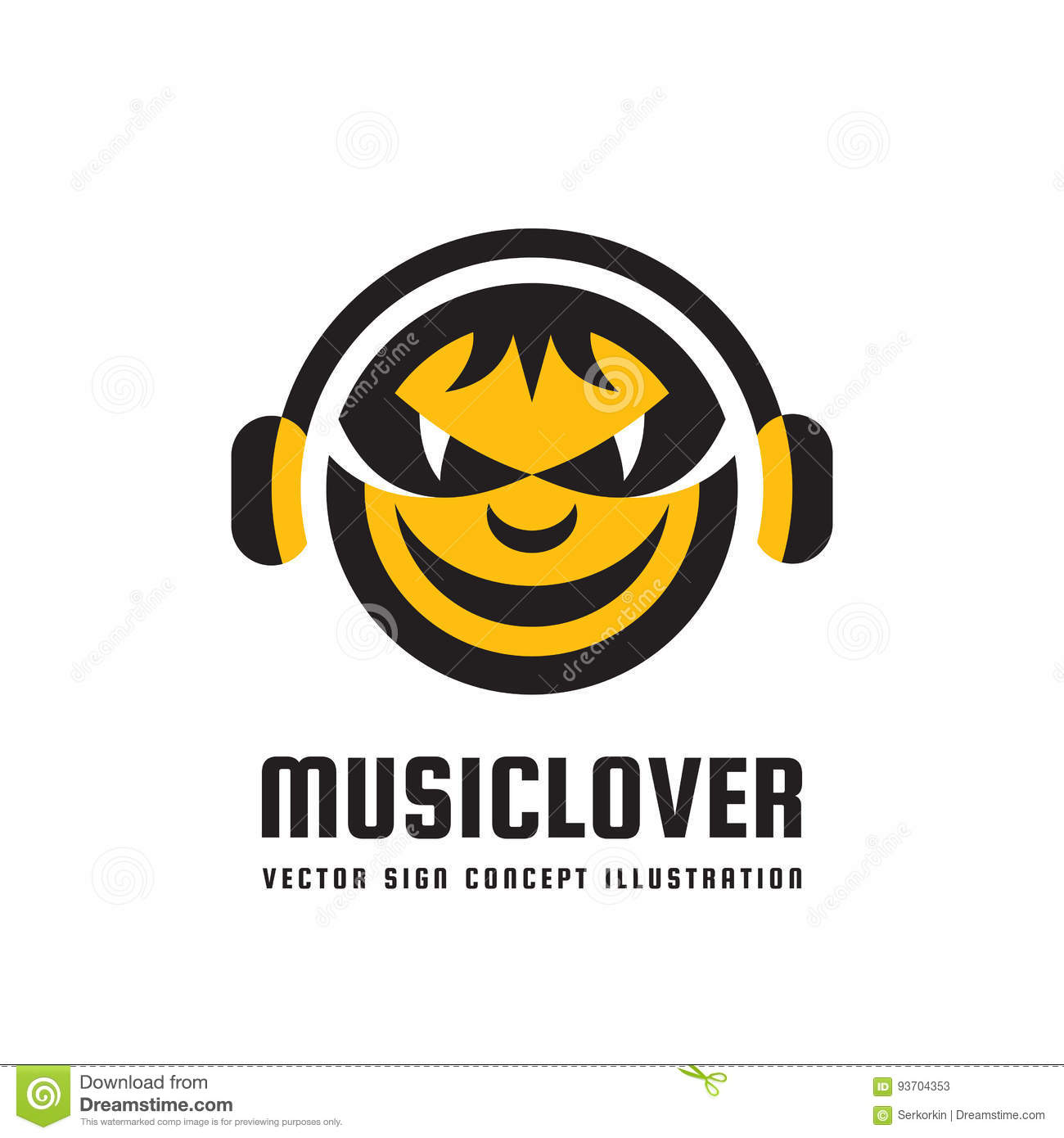 Mp3 Audio Music Lover Vector Logo Concept Illustration In Flat Style