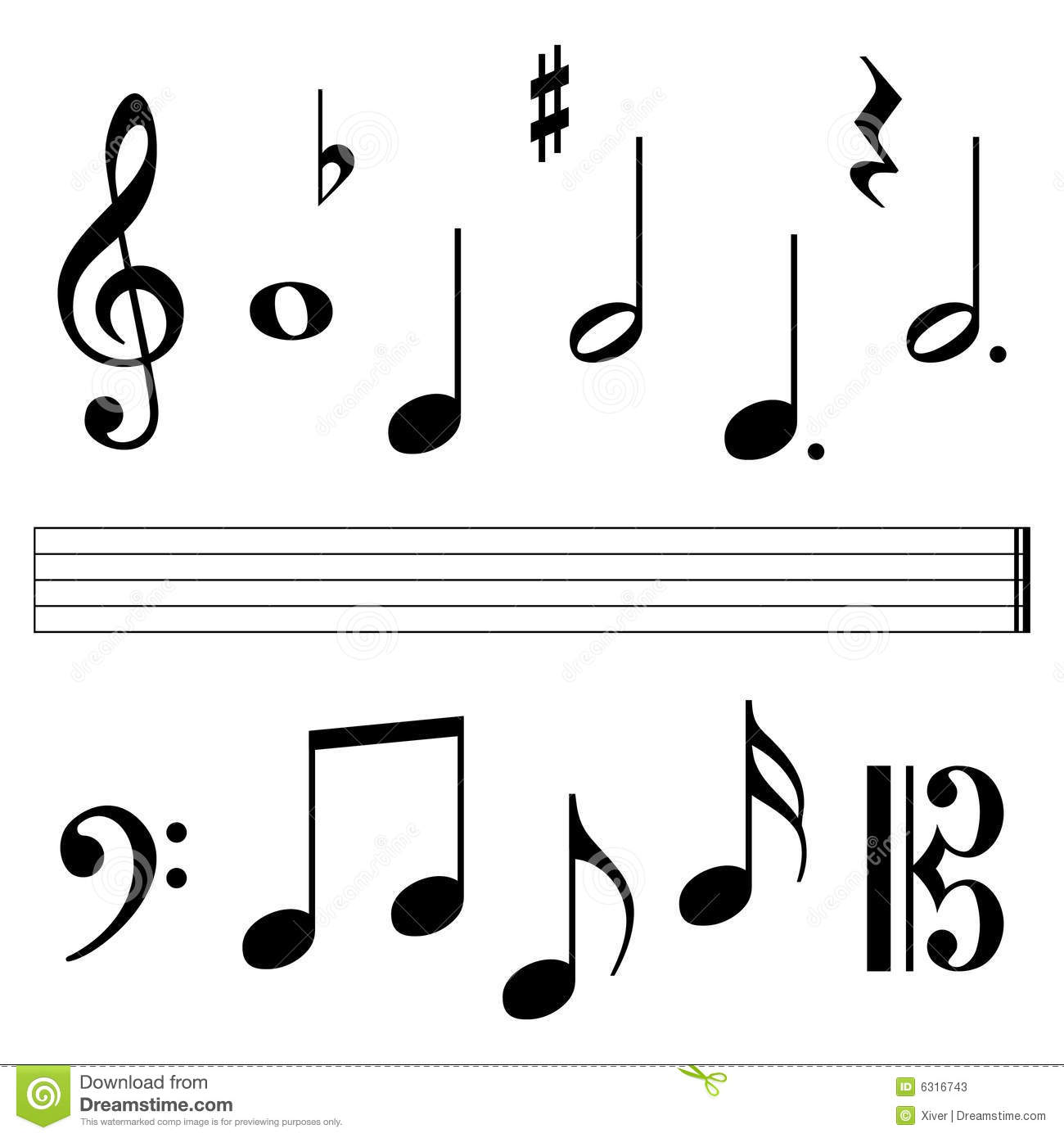 Music Notation Notes Music Notation Elements Stock Vector Illustration Of