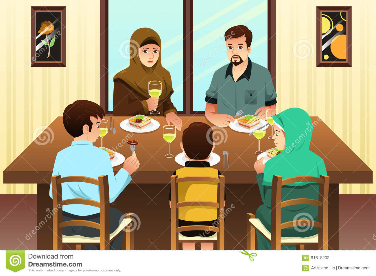 Night Table Clipart Muslim Family Eating Dinner At Home Stock Vector