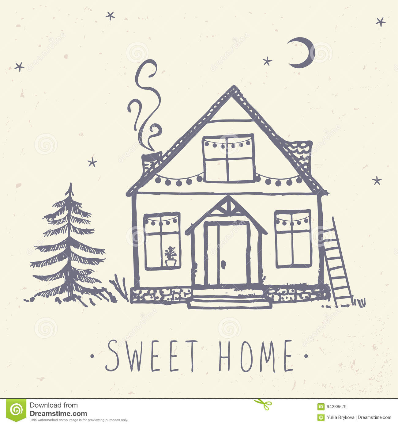 My Sweet Home My Sweet Home Stock Vector Illustration Of Festive