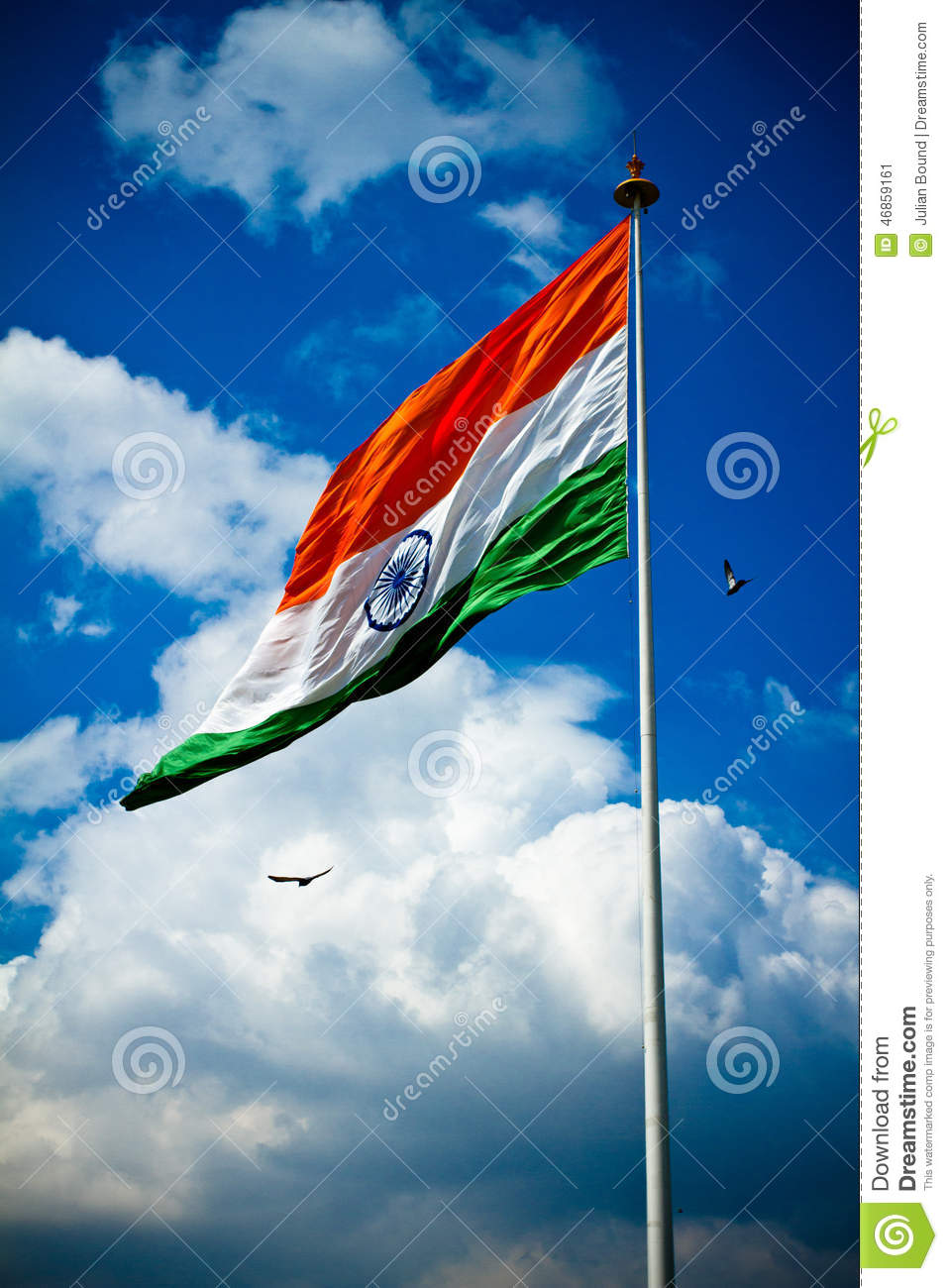 Tiranga Wallpaper Full Hd National Flag Of India With Blue Sky Birds And Clouds