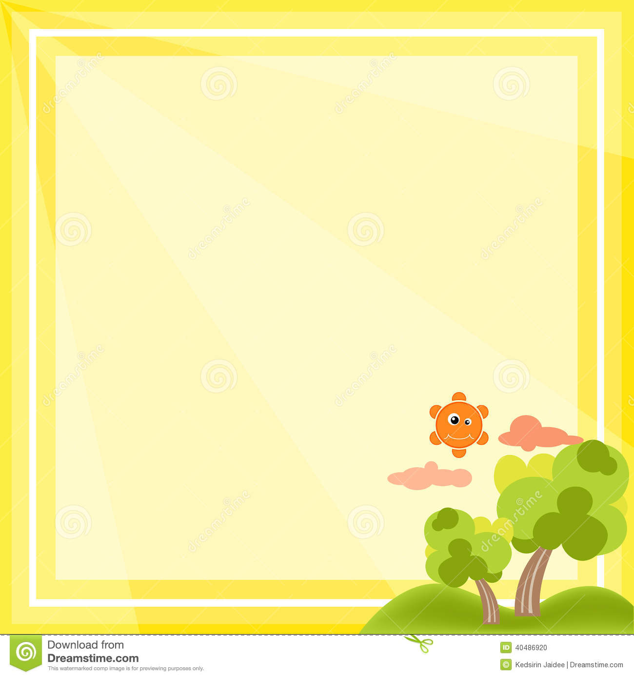 Cat In Fall Wallpaper Natural Frame Cartoon Vector On Yellow Background Stock