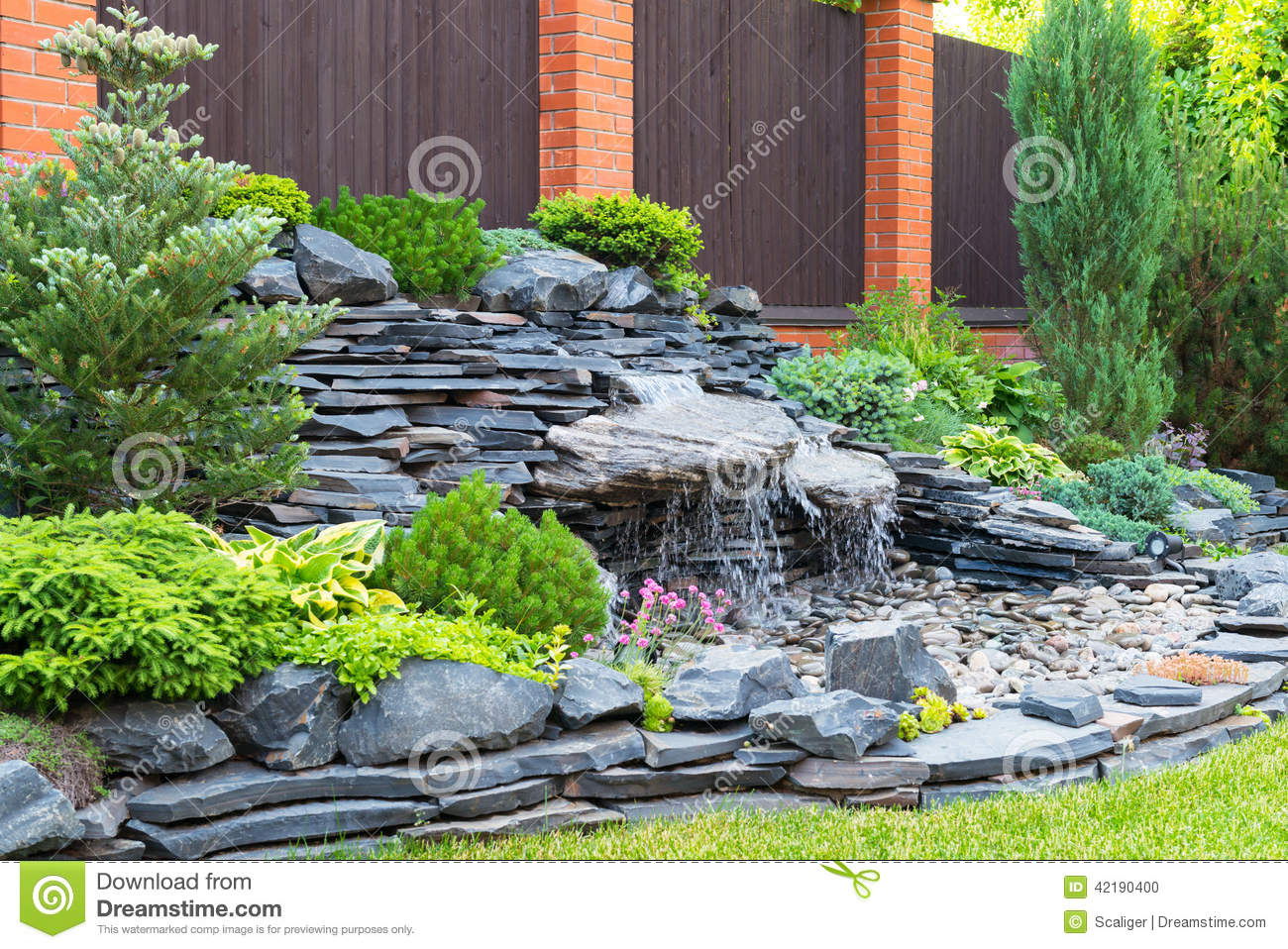 Home Garden Natural Landscaping In Home Garden Stock Photo Image Of House