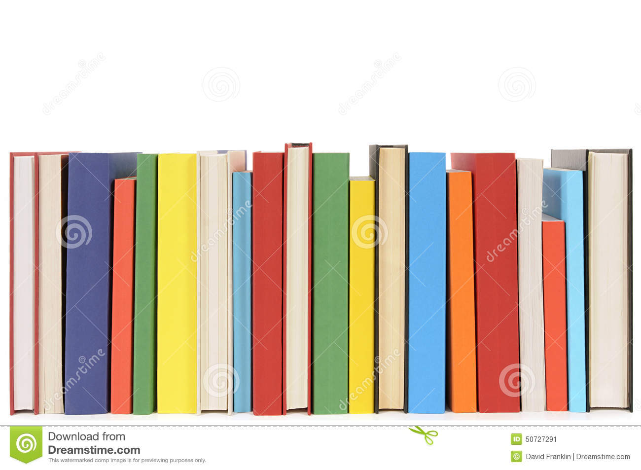 Row Of Books Vector Library Books In A Row Isolated White Background Stock