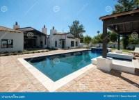 New Modern Classic Home Backyard Pool Stock Photo - Image ...