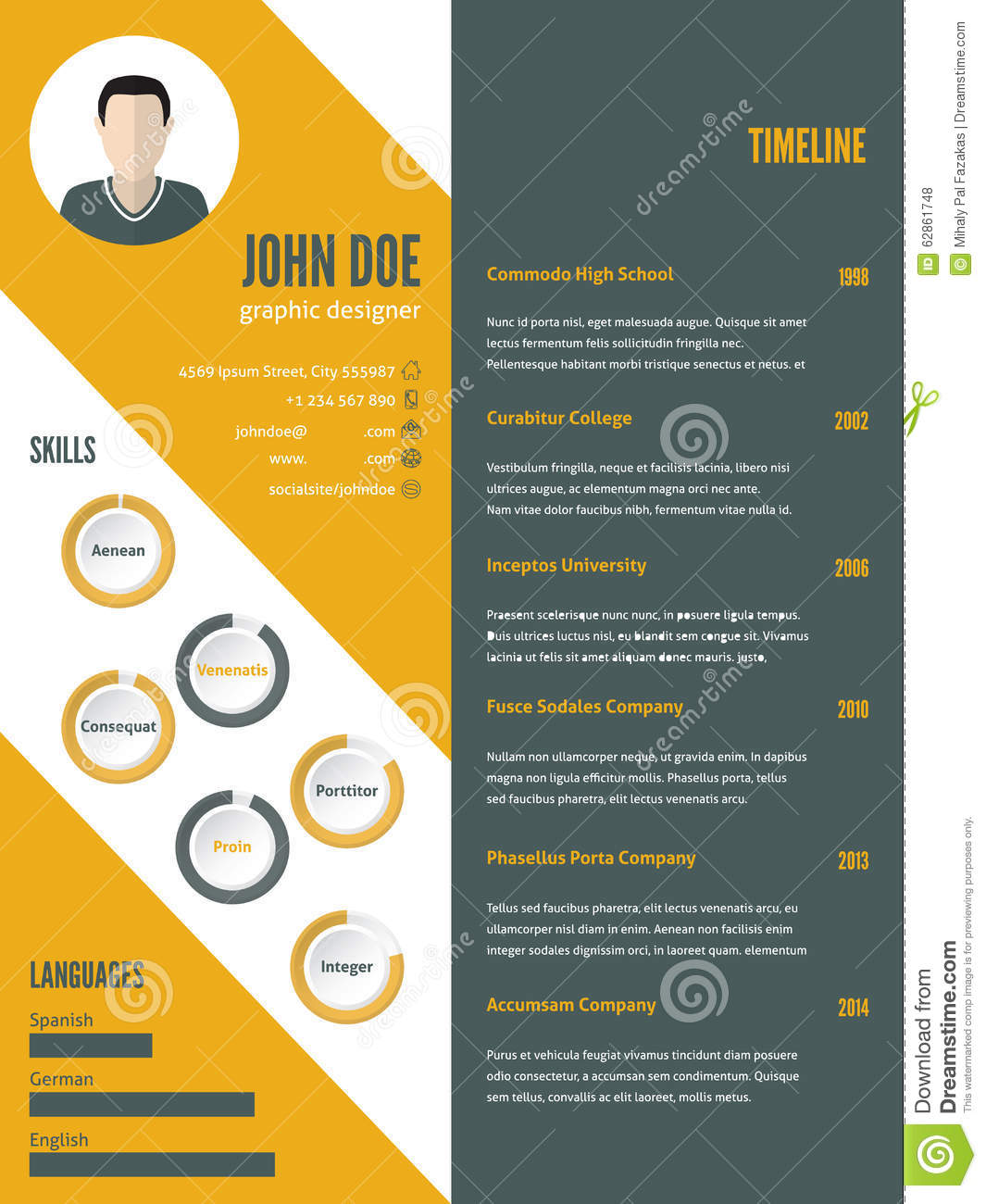 Lifeclever ; Give Your Rsum A Face Lift New Modern Resume Cv Template With Photo Stock Vector