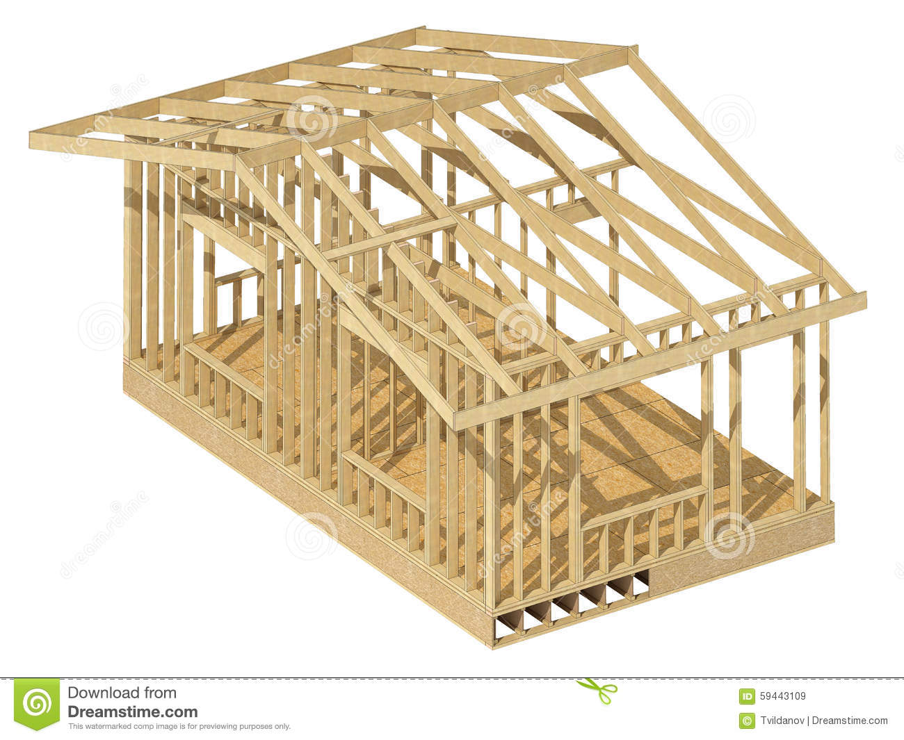 To Residential Construction New Residential Construction Home Wood Framing Stock Illustration