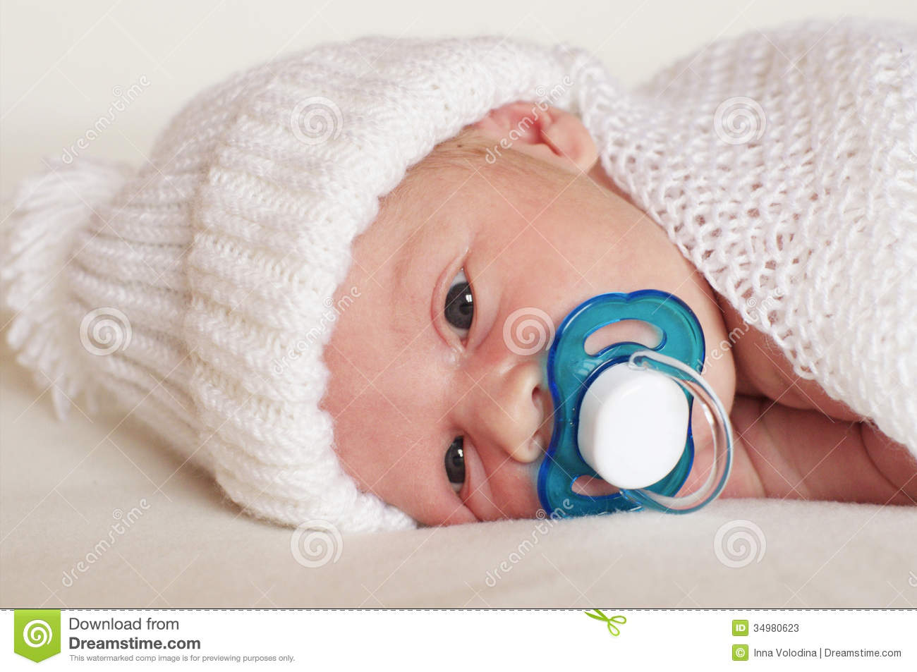 Newborn Babies For Dummies Newborn Baby Boy With Pacifier Stock Image Image Of