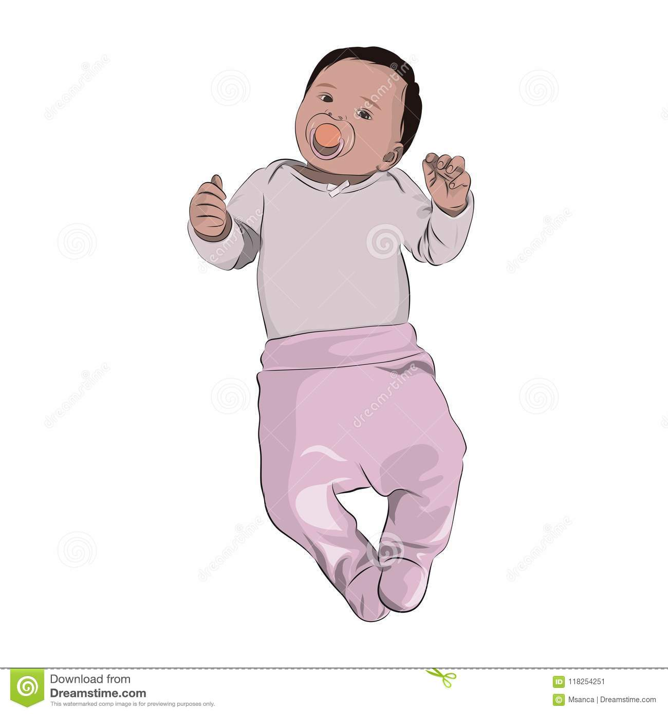 Newborn Babies For Dummies Newborn Baby With Dummy In Mouth Is Dressed In Pink Clothes