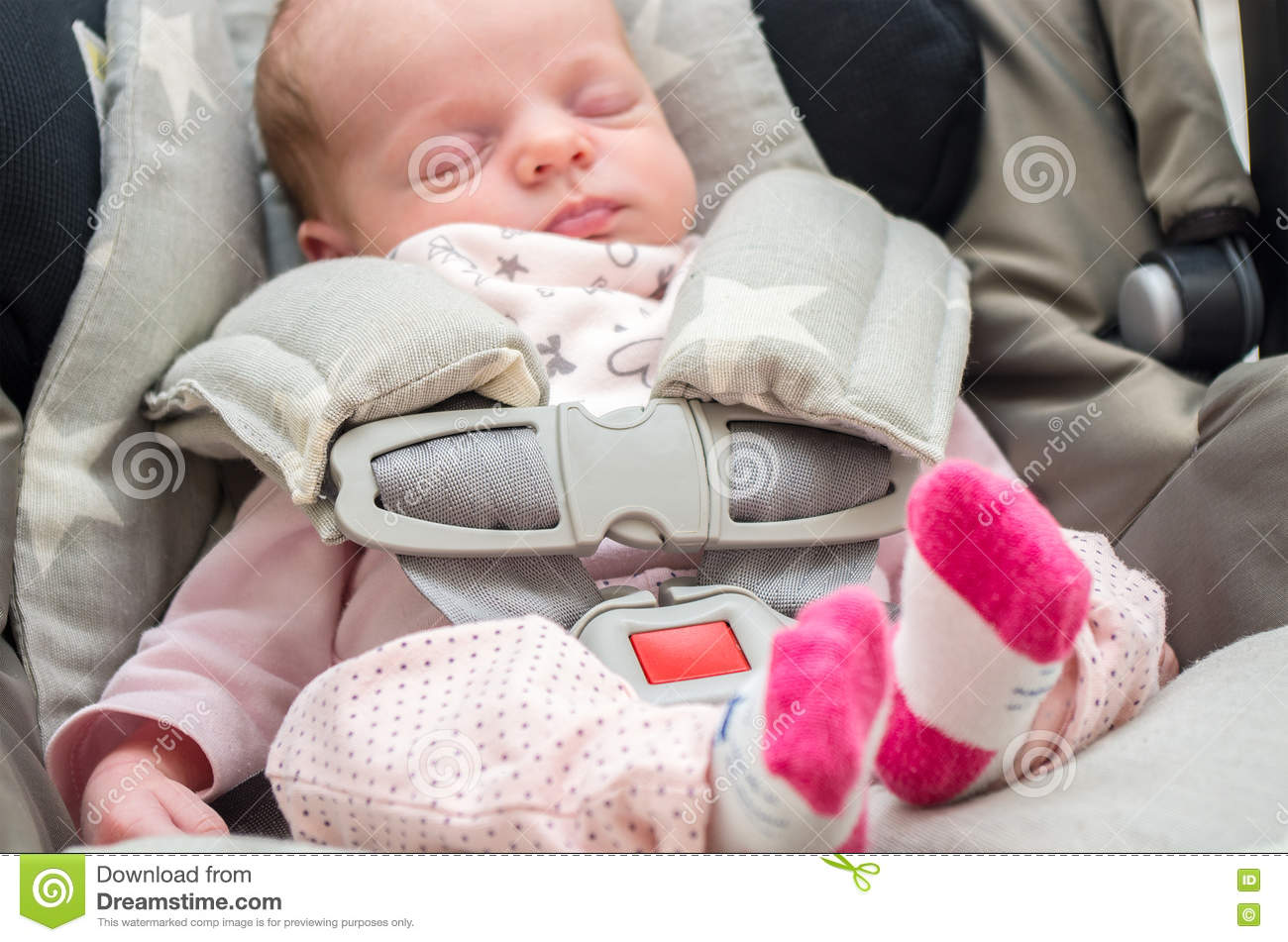 Newborn Baby Girl In A Car Seat Stock Photo Image Of