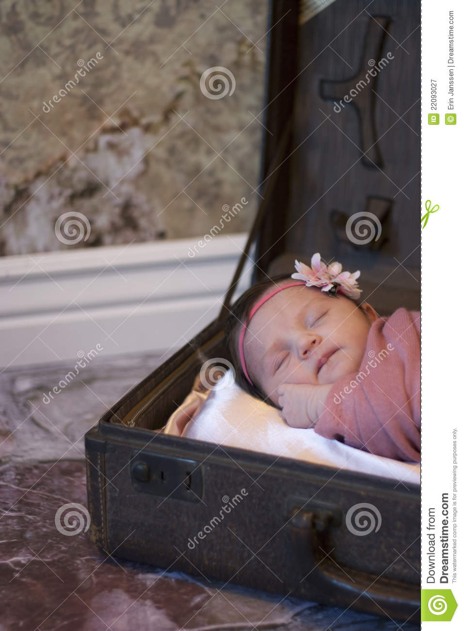 Newborn Baby Girl Wallpaper Newborn Baby Girl In Suitcase Stock Image Image 22093027