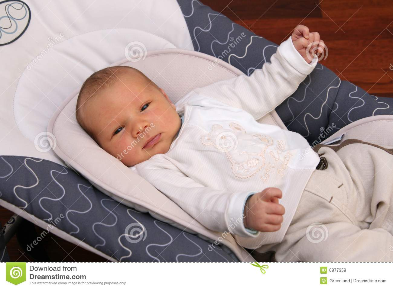 Newborn Baby Lying In Bouncer Chair Stock Photo Image Of