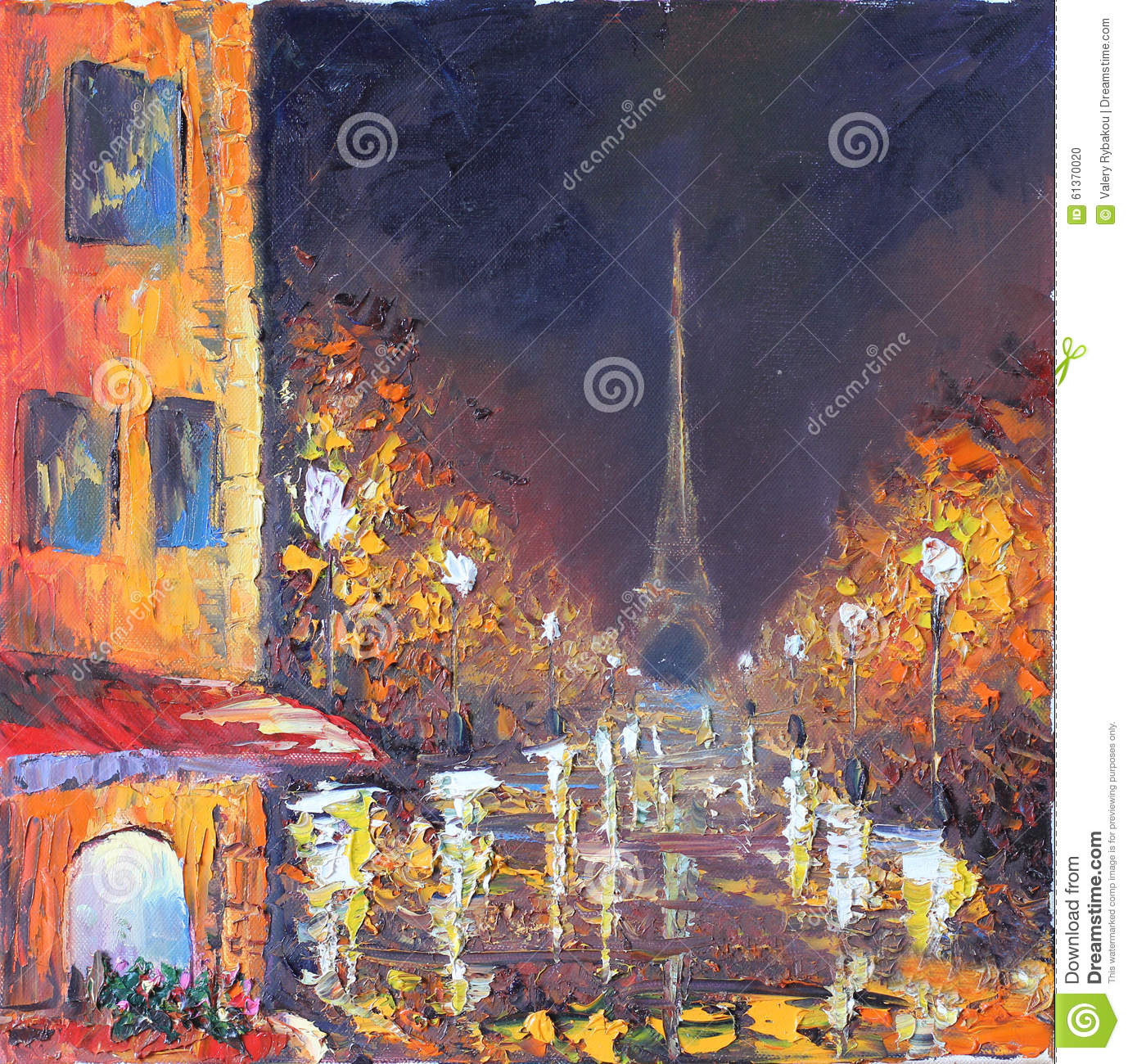 Street Light At Night Painting Night City Yellow Old Buildings White Lights Rain
