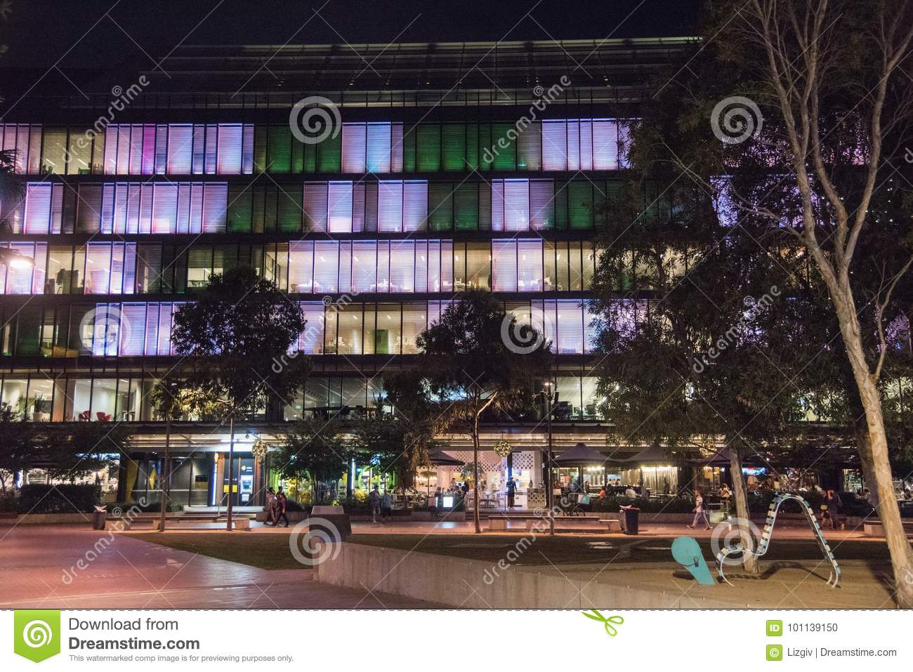 Solar Lights Australia Night Illumination At Darling Quarter Editorial Image Image Of