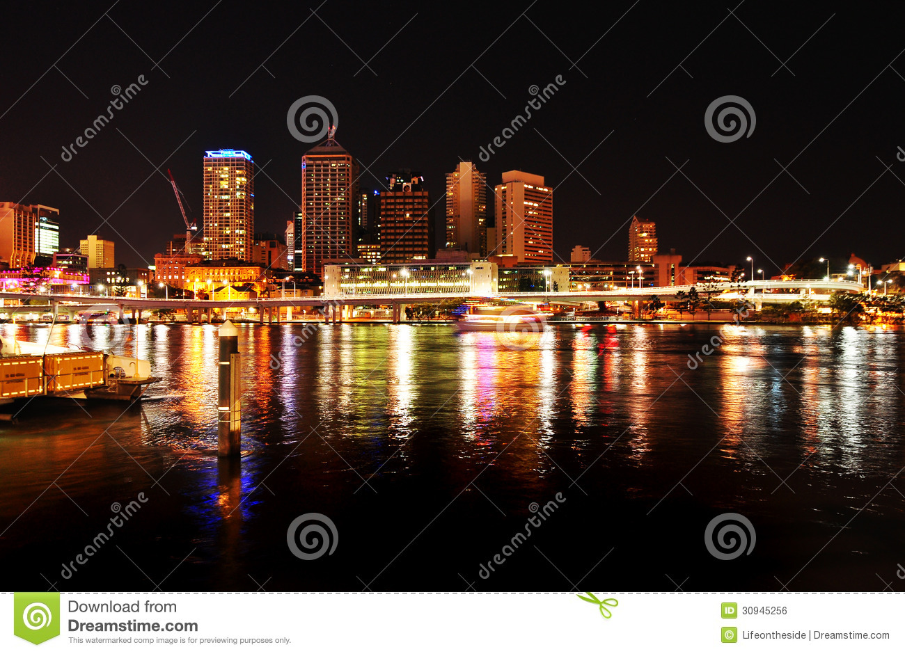 Brisbane Lighting Night Lights At Brisbane City Reflecting In River Stock Photo