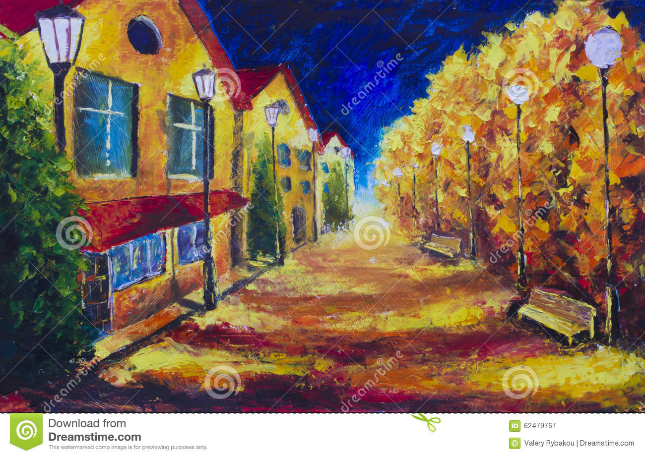 Street Light At Night Painting Night Yellow Houses At Autumn Deserted Street Street