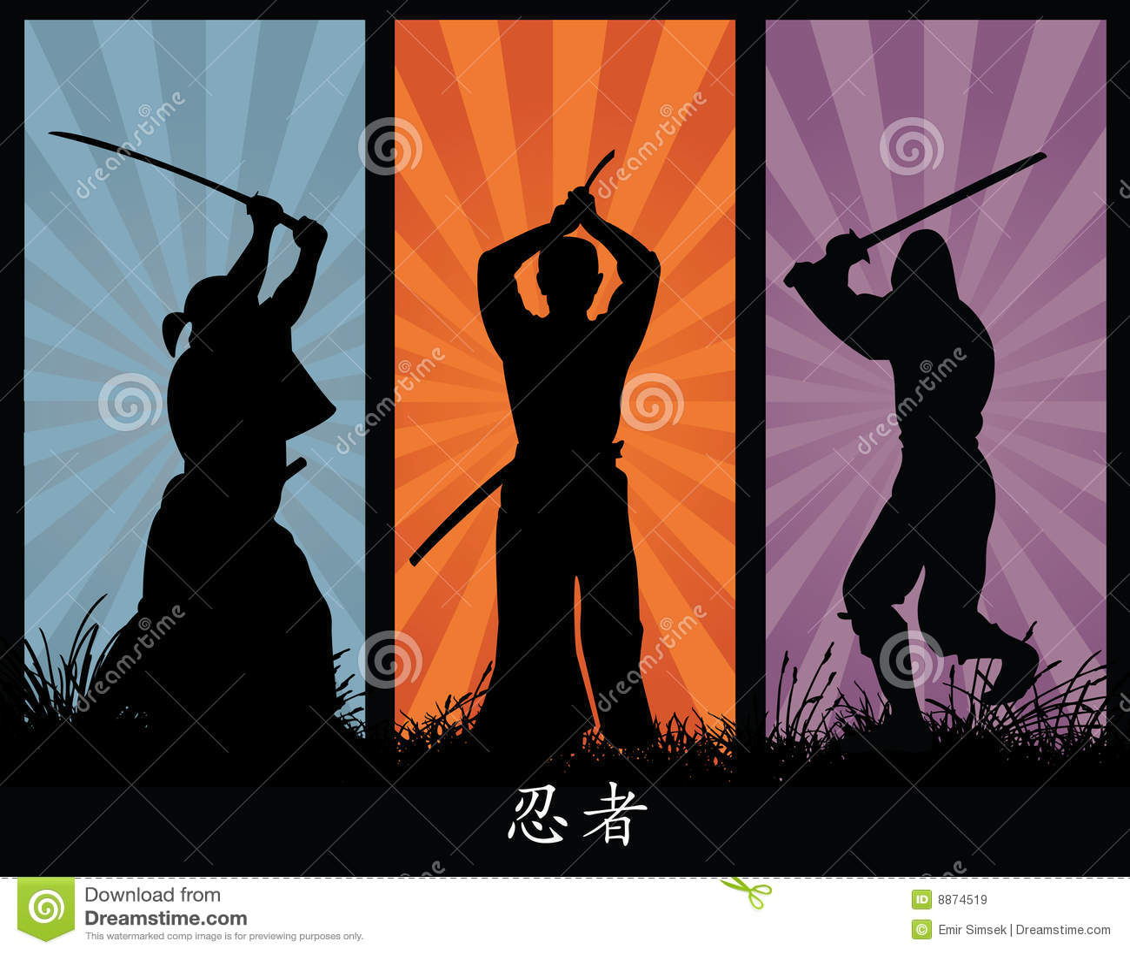 Japanese Samurai Girl Wallpaper Ninja Silhouettes Royalty Free Stock Images Image 8874519