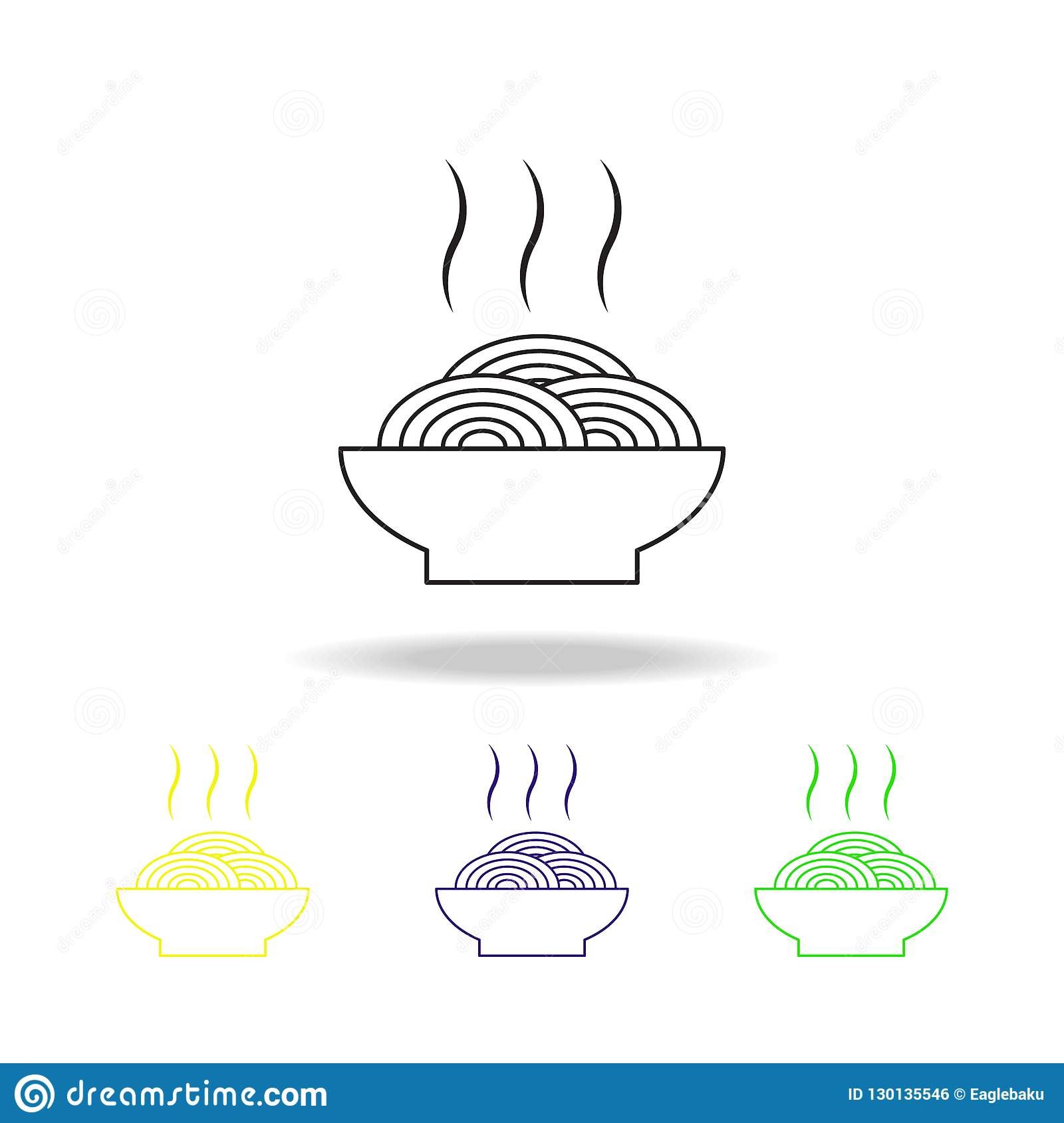Element Cuisine Noodles On A Plate Multicolored Outline Icons Spaghetti Element
