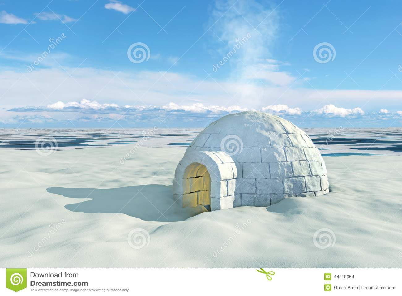 3d Fountain Wallpaper Nordic Landscape With Igloo Stock Illustration Image