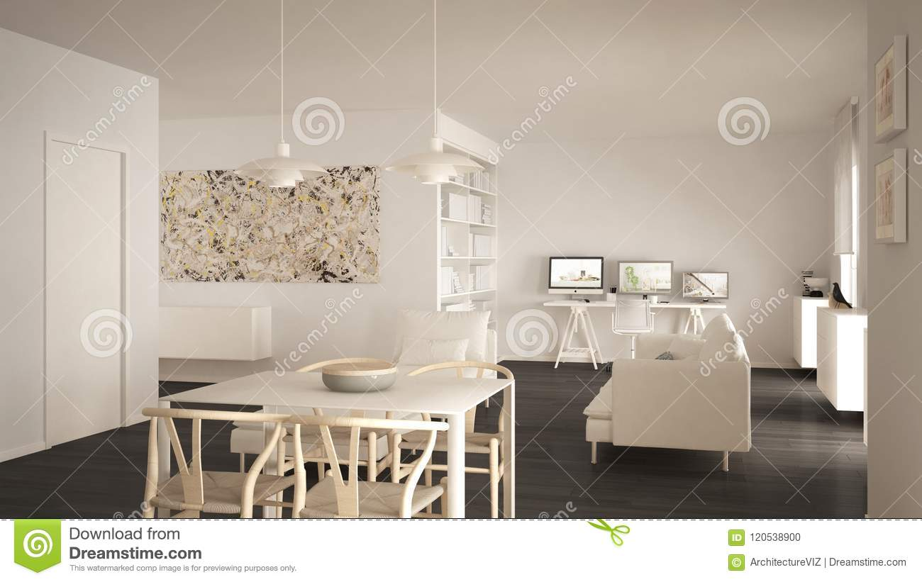 Minimalist Living Space Nordic Minimalist Living Room Open Space With Dining Table Sofa