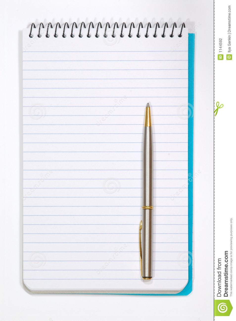 Bloc Note Dessin Note Pad With White Pages And Pen Stock Photography
